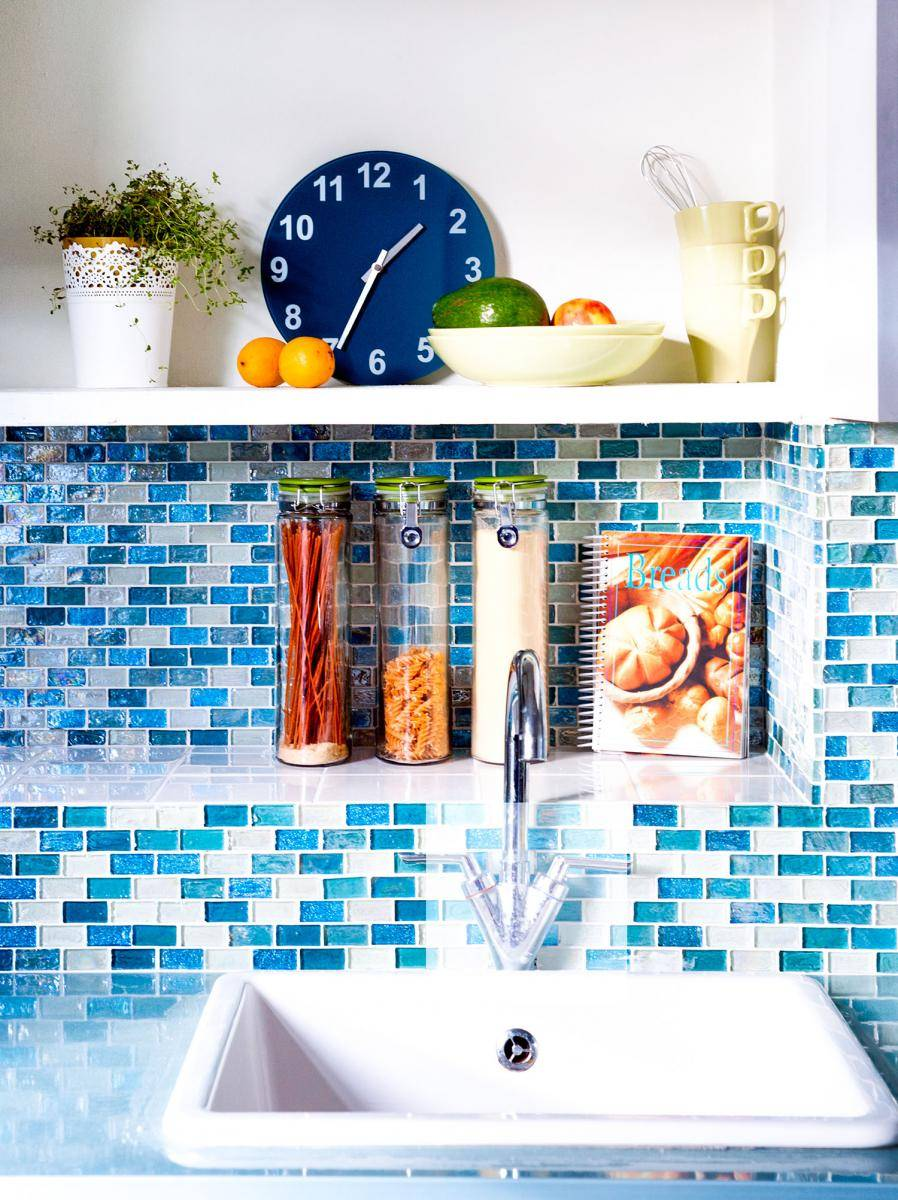 Stoke Newington Kitchen Rectanglular mosaic tiles duckegg blue kitchen kitchen renovation London Modern kitchen